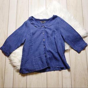 Flax Blue Linen Button Front Lagenlook Top Shirt